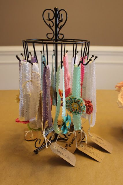 baby headband station for a baby shower