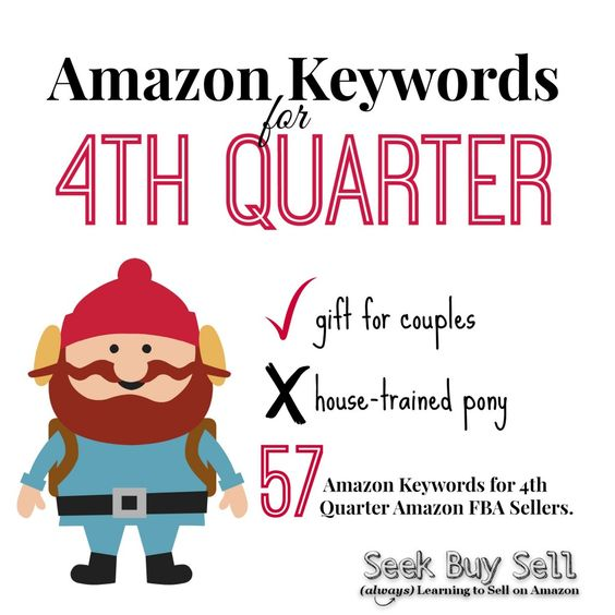 57 Amazon Keywords for 4th Quarter! Use them when building your product listings and coming up with bundle ideas. :-)