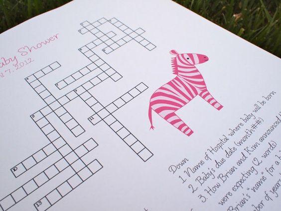 Custom Baby Shower Crossword Puzzle Zebra By KreativeCupcake, $20.00