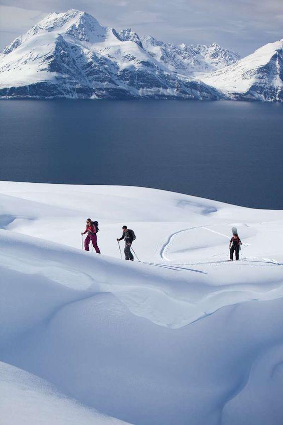 Ski touring, above the Arctic circle, Norway