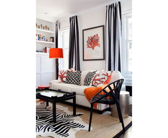 love the coral accents in this room!