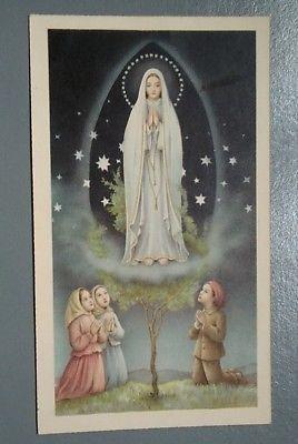 Bonita Estampa Religiosa Antigua Ntra Senora De Fatima Holy Card