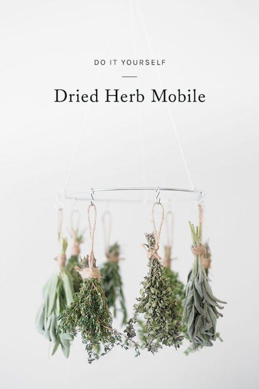 Acho esse móbile de ervas super interessante e decorativo para a cozinha.