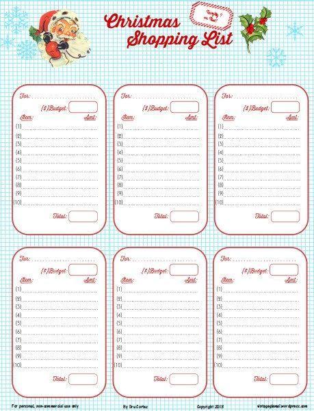 Free Printable Download Retro Christmas Shopping List – Christmas Dinner Shopping List Template