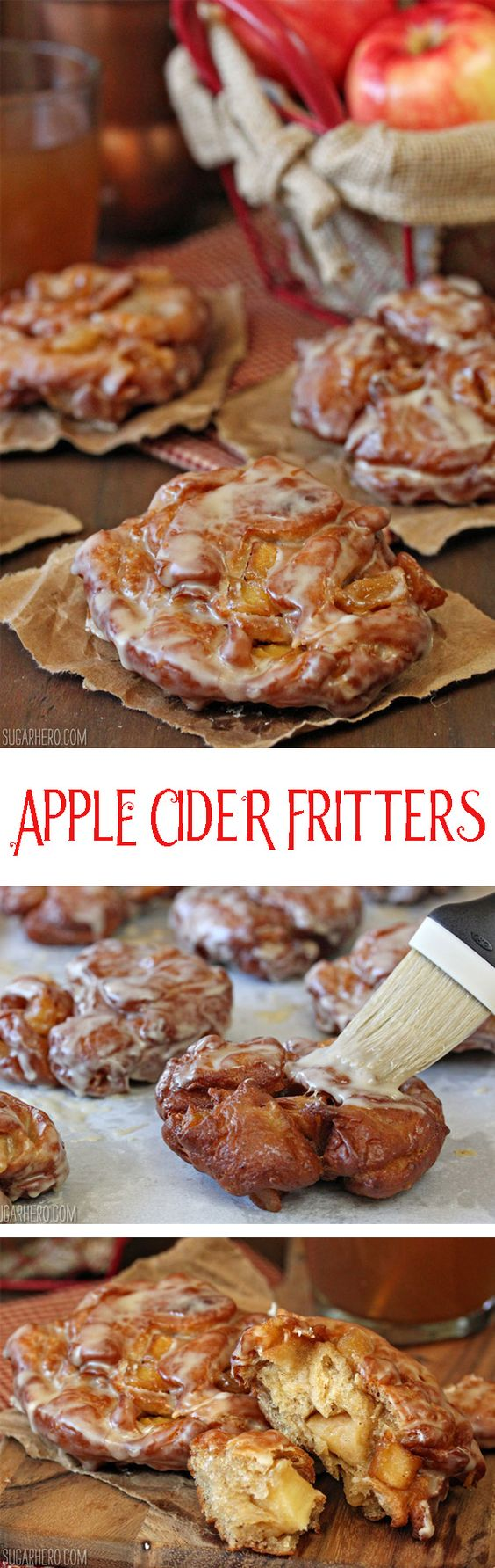 Apple Cider Fritters, made with big chunks of fresh apples! Brunch, anyone? | From SugarHero.com