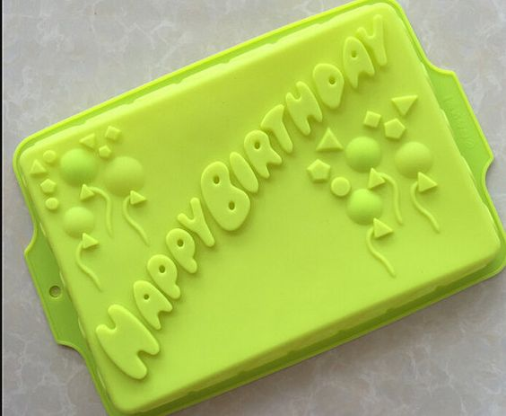 Big Happy Birthday Oblong Cake Mold Mould Silicone by soapmoldiy
