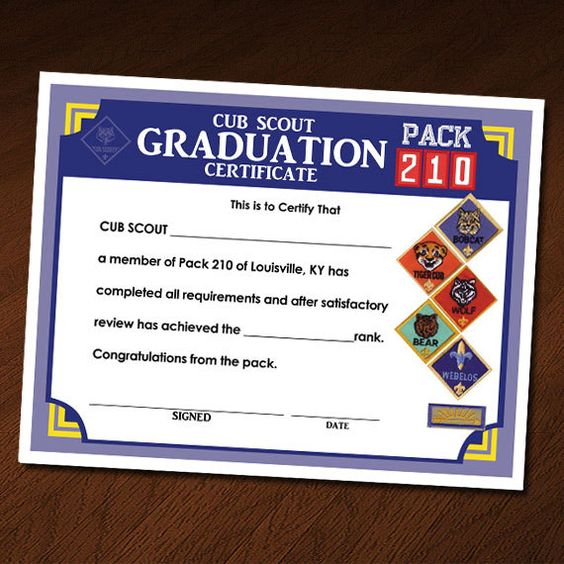 Custom Cub Scout Blue \ Gold Invitation, Certificate of - graduation certificate