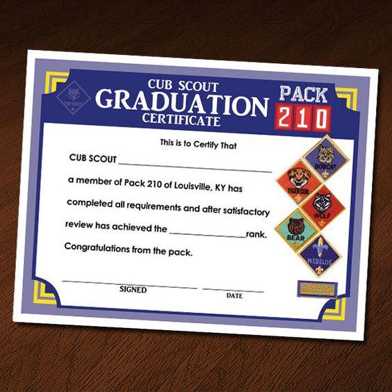 Custom Cub Scout Blue \ Gold Invitation, Certificate of - graduation certificate
