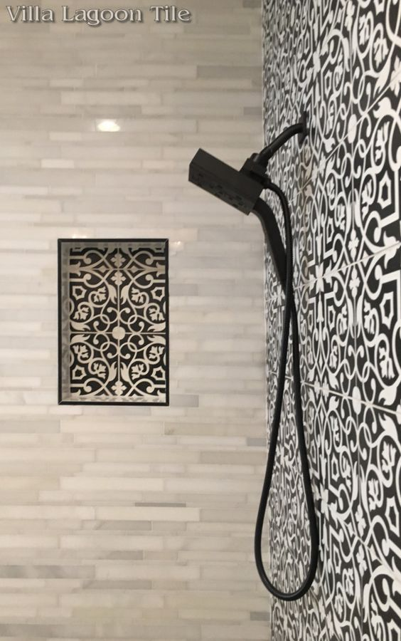 "Villa Lagoon Tile's exclusive in-stock ""Gypsy Black & White"" Cement Tile."
