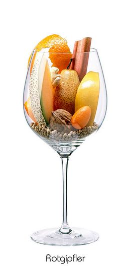 Descrição aromática da variedade: ROTGIPFLER: Birne, Orange (Schale), Quitte, Walnuss, Kumquat, Melone, Rhabarber, Ingwer, Pfeffer (weiß)