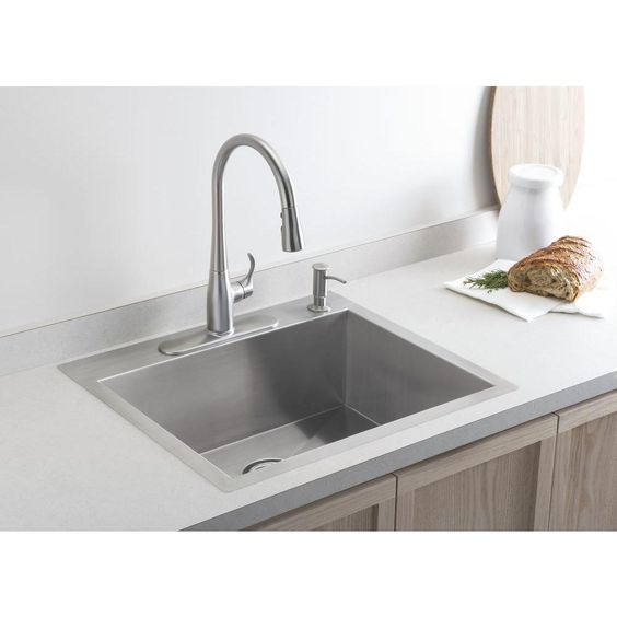 KOHLER Simplice 1 or 3-Hole Single-Handle Pull-Down Sprayer Kitchen Faucet in Vibrant Stainless with DockNetik and Sweep Spray - K-596-VS - The Home Depot