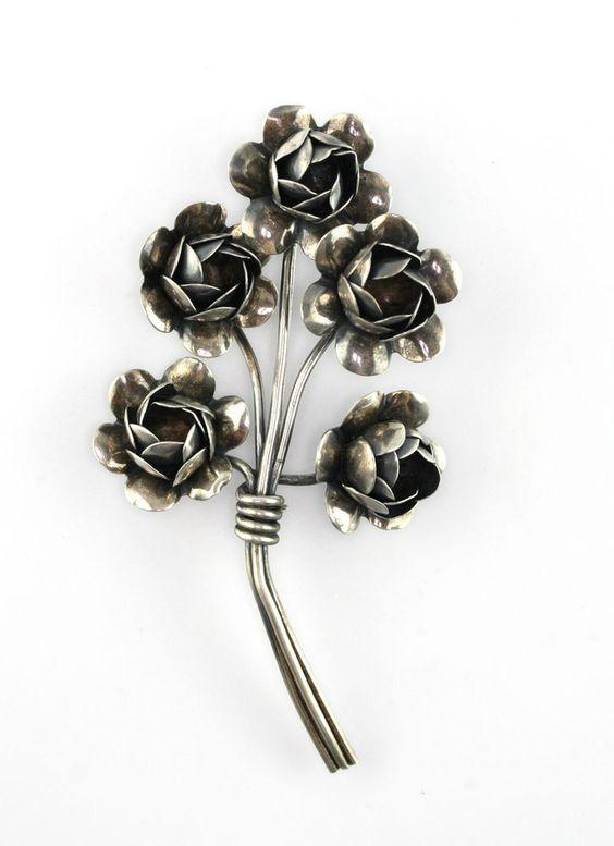 Vintage CORO STERLING Silver Rose Flower Bouquet Brooch #Coro