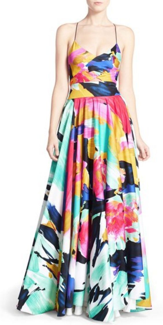Abstract Tropical Print Gown