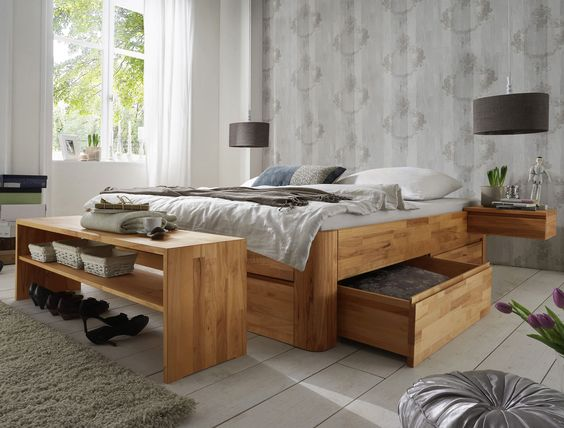 massivholz liege zarbo mit viel stauraum durch schubladen aus massivholz. Black Bedroom Furniture Sets. Home Design Ideas