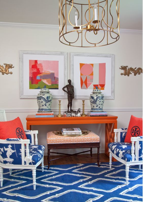 PARKER KENNEDY LIVING: Tory burch, greek key, abstract art, gold modern light fixture, blue and white chinoiserie porcelain, dragons