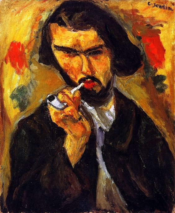 Chaïm Soutine (1893-1943). French painter of Belarusian Jewish origin. Expressionist movement. Man with a Pipe (Portrait of Chauveau) (1916). Oil on canvas. Private collection.