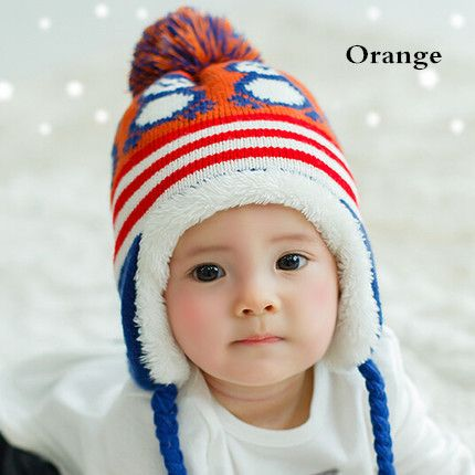 Thick penguin knit ear flap hat for toddlers sherpa lined hat