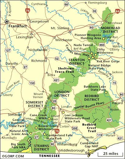 Kentucky Map of Daniel Boone National Forest Red River Gorge