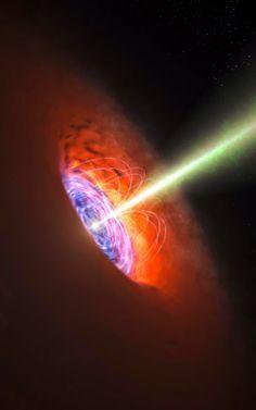 """天文學家揭示超大質量黑洞的強磁場查爾斯理工大學的天文學家使用巨型望遠鏡阿爾瑪揭示了一個非常強大的磁場,非常接近遙遠的星系中超大質量的黑洞。 結果出現在2015年4月17日的""""科學""""雜誌上。"""