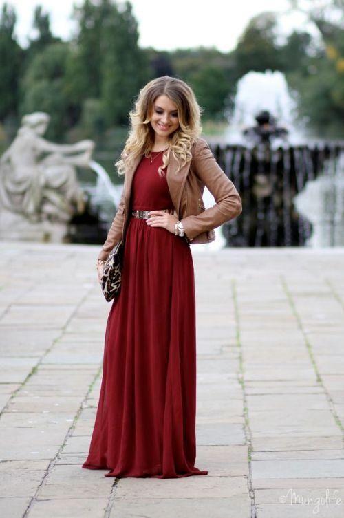 maroon long dress with jacket Fall inspiring looks http://www ...