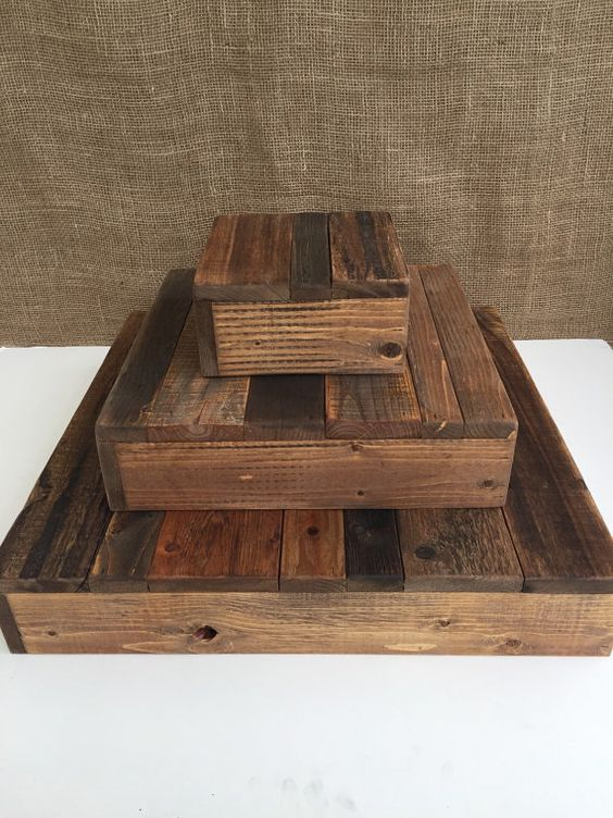 Wood Dessert Table ~ Rustic wood cupcake stand tiered wedding party