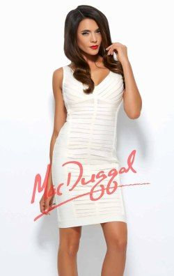 Thick Straps by Mac Duggal Black White Red 40308R