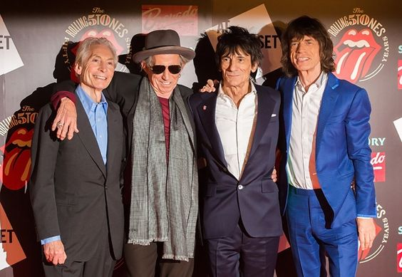 Charlie Watts, Keith Richards, Ronnie Wood and Mick Jagger of the Rolling Stones recording in Paris