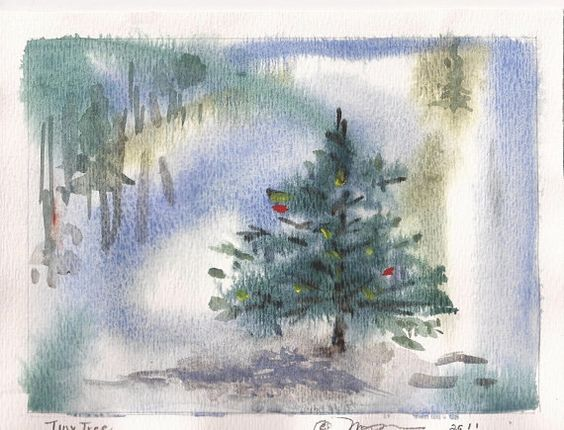 Watercolor sketch of Fir Tree in Winter 5 x 7 Tiny by baybeari, $16.00