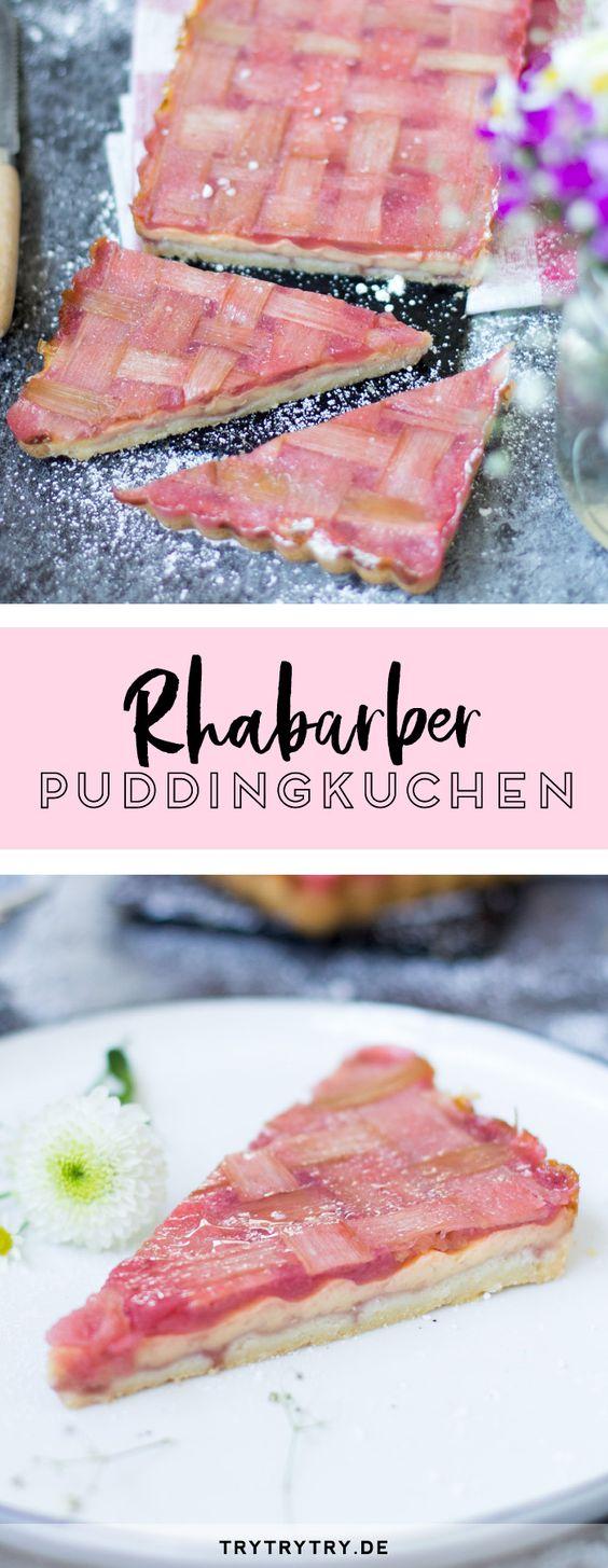 Rhabarber-Puddingkuchen mit Erdbeer-Mousse