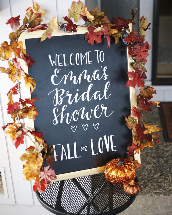 Chalkboard welcome sign to bridal shower. Fall in love theme.