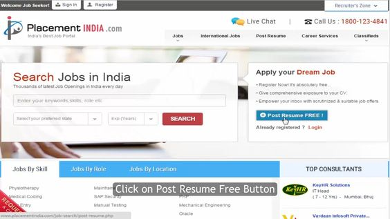 How to Post Your Resume on Placementindia Job portal - post resume online