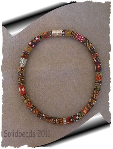solidbeads.Now here's one with lots of different patterns all the way around.I love it!The colors too!