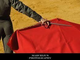 Es la capa roja y la espada del matador. El matador usa la capa en los corridas y mata el toro con la espada.