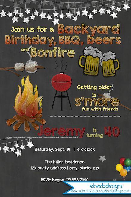 Backyard Bonfire Birthday Party Ideas : Backyard Bonfire Birthday Invitation  BBQ Birthday Invitation