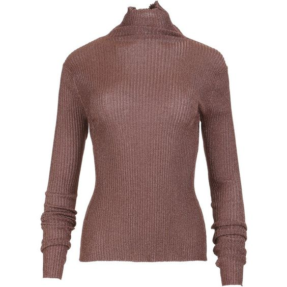 Tibi Metallic Ribbed Turtleneck (2,945 CNY) ❤ liked on Polyvore featuring tops, sweaters, rib sweater, turtleneck sweater, brown sweater, brown turtleneck and ribbed turtleneck