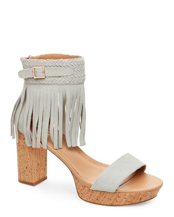 Nanette Nanette Lepore Light Grey Vanessa Fringed Open Toe Block Heel Platform Sandals