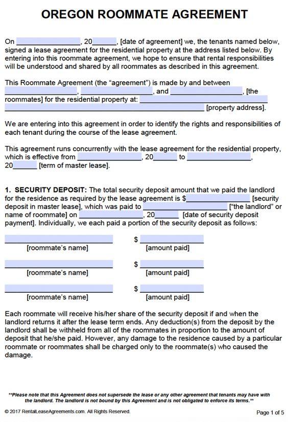 Free Oregon Roommate Agreement Template  Pdf  Word  Rental Room