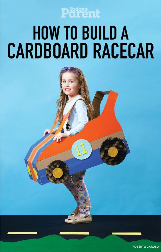 How to build a cardboard racecar all things today 39 s for How to make a cardboard box car that moves