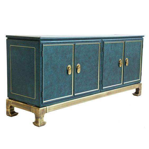 Mastercraft Furniture For Sale #32: View This Item And Discover Similar Buffets For Sale At - Mastercraft, Four Door Compartments With Adjustable Shelves. Brass Detailed Sides And Top.