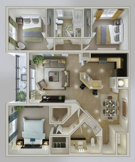 30 Modern 3d Floor Plans Help You To Make Your Dream Home Engineering Discoveries Sims House Plans House Floor Plans 3d House Plans