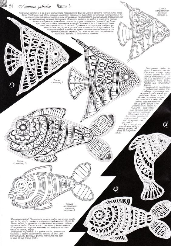 "#Crochet_Tutorial - ""There are so many crocheted fish at this site with diagrams and videos. The charts are much bigger at the site so that you can really see the stitches, too."" A treasure 4U from the #KnittingGuru What will you do with the fish you make???:"