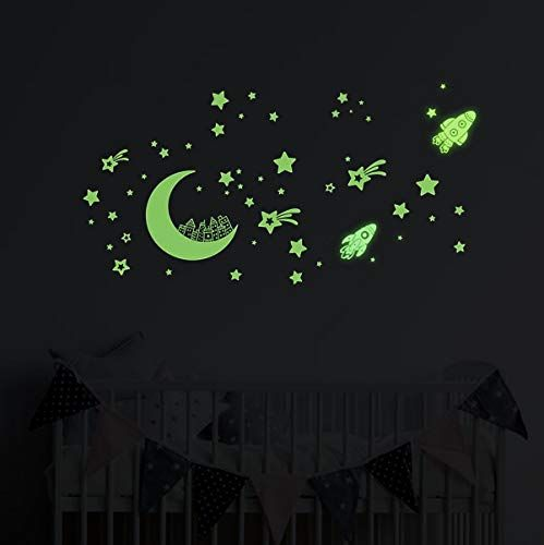 Glow In The Dark Stars Wall Stickers Glowing Stars For Ceiling And Wall Decals Perfect For Kids Bedding Room Or Party Birthday Gift
