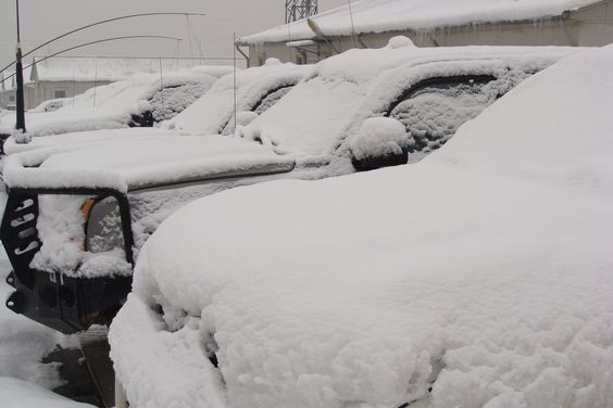 Snow covered cars in Kabul, Afghanistan - 2.12.2012
