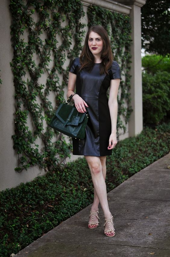 Brooke du jour | Gianni Bini Vandra Faux-Leather & Ponte Dress