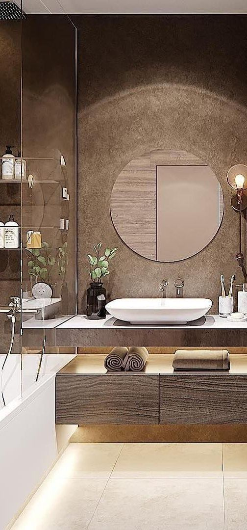 A Gorgeous Bathroom In White And Brown Hues Bathrooms
