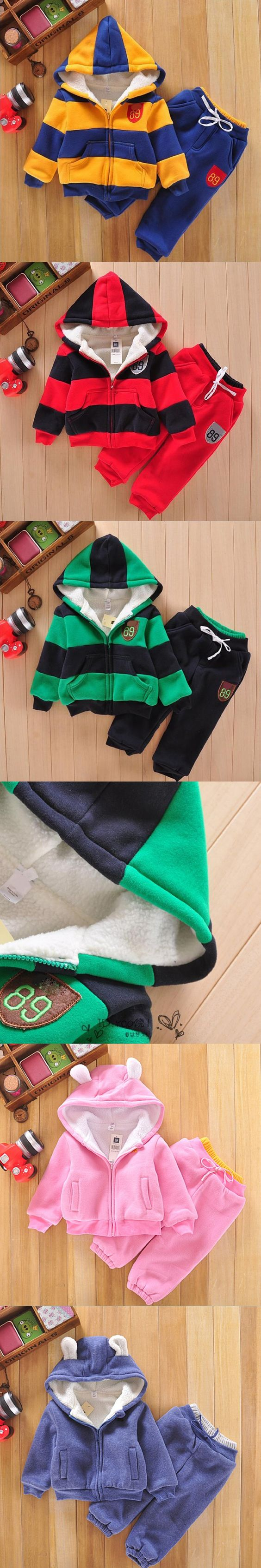 Baby Sports Set Jacket Sweater Coat & Pants Thicken Kids Clothes Set 2016 Hot Sell Boys Girls Children Winter Cotton suit $19.73
