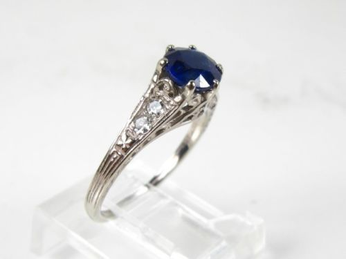 Antique 10k White Gold Natural Blue Sapphire Amp Diamond Filigree Ladies Ring 1 6g Natural Blue Sapphire Blue Sapphire Diamond Women Rings