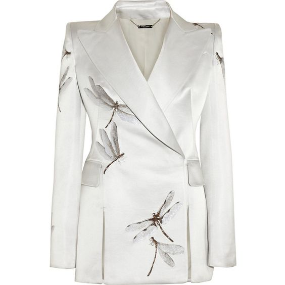 Alexander McQueen Silk-blend satin dragonfly-jacquard jacket ($6,960) ❤ liked on Polyvore