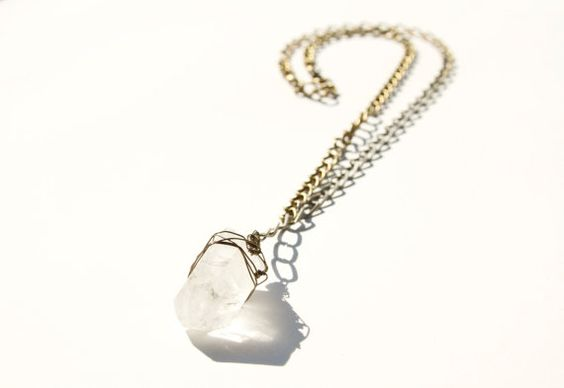 Large Quartz Crystal Necklace by BrianneCossette on Etsy, $45.00