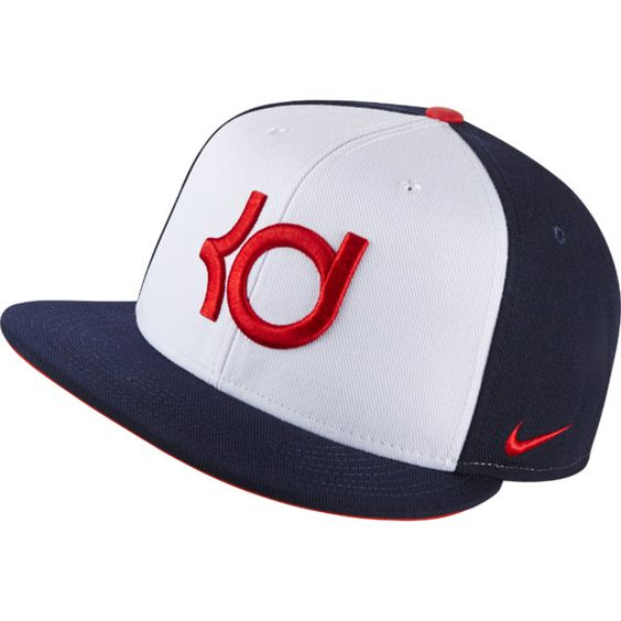 NIKE KD 4th Of July Adjustable Hat ($35) ❤ liked on Polyvore featuring accessories, hats, embroidered hats, nike hat, embroidery hats, 6 panel hat and snap hat